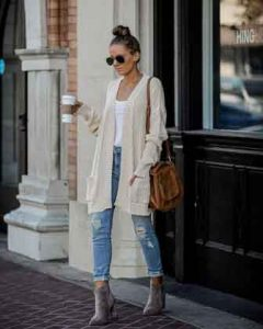 how should a 35 year old woman dress - Cardigan-theme-outfit